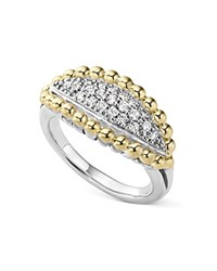 Lagos Sterling Silver And 18K Gold Caviar Beaded Ring With Diamonds Silver Gold