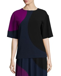 Dkny Short Sleeve Colorblock Crop Shirt