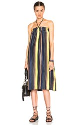 Apiece Apart Nambe Dress In Stripes Blue Neon Green
