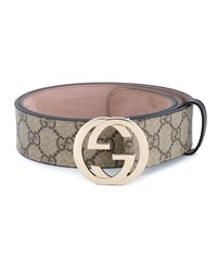 Gucci Gg Supreme Leather Belt Multi Coloured Dark Brown Oatmeal Blue Denim