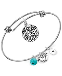 Unwritten Live Laugh Love Charm And Manufactured Turquoise 8Mm Adjustable Bangle Bracelet In Stainless Steel