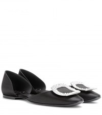 Roger Vivier Crystal Embellished Satin Ballerinas Black