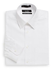 Saks Fifth Avenue Black Classic Fit Cotton Twill Shirt White