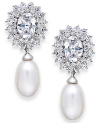 Arabella Cultured Freshwater Pearl 8Mm And Swarovski Zirconia Earrings In Sterling Silver