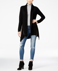 Material Girl Juniors' Zip Trim Asymmetrical Hem Cardigan Only At Macy's Black