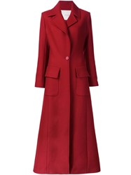 Adam By Adam Lippes Long Military Coat Red