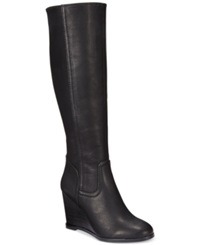 Rampage Henrietta Tall Shaft Wedge Boots Women's Shoes Black