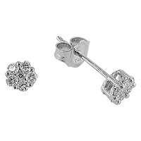Ewa 18Ct White Gold Diamond Cluster Small Stud Earrings