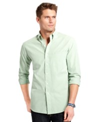 Izod Big And Tall Long Sleeve Essential Mini Checked Shirt Seacrest