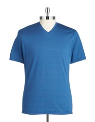 Vince Camuto Cotton V Neck Tee Federal Blue