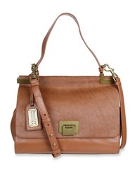 Badgley Mischka Chantel Leather And Calf Hair Crossbody Satchel Cognac
