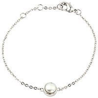 A B Davis Round Edge White Gold Plated Sterling Silver Pearl Bracelet White Gold