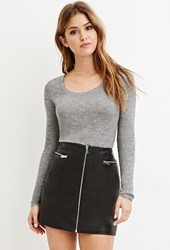 Forever 21 Heathered Longline Tee Heather Grey
