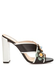 Fendi Flower Applique Leather Mules Black Multi
