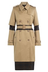 Maison Martin Margiela Cotton Trench Coat With Plaid Panels Beige