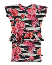 Molo Christina Striped Rose Print Peplum Dress Black White