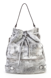She Lo 'Silver Lining' Drawstring Shoulder Bag Black White