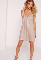 Missguided Strappy Ribbed Cami Swing Dress Nude Grey