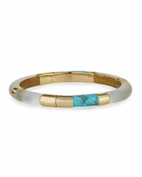 Alexis Bittar Colorblocked Lucite Hinged Bangle Bracelet Silver