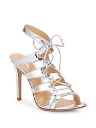 Schutz Dubiana Metallic Leather Lace Up Pumps Silver