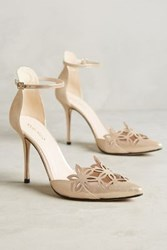 Anthropologie Romea Ankle Strap Pumps Gold
