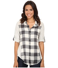 Dylan By True Grit Vintage Buffalo Check Roll Sleeve Blouse Chalk Women's Blouse White