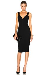 Victoria Beckham Matte Crepe And Satin Cami Fitted Dress In Black