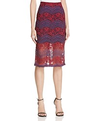 Aqua Multi Lace Pencil Skirt Burgundy Blue
