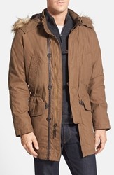 Cole Haan Washed Military Parka With Faux Fur Trim Teakwood Green