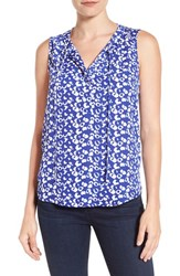 Gibson Women's Print Sleeveless Split Neck Blouse Cobalt Blue