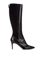 Max Mara Snakeskin And Leather Knee Length Boots