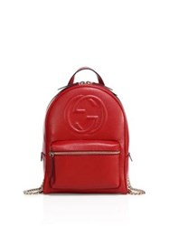 Gucci Gg Leather And Chain Backpack Red Black