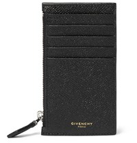 Givenchy Zipped Cross Grain Leather Card Holder Black