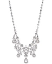 Givenchy Silver Tone Large Crystal Cluster Collar Necklace