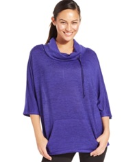 Ideology Cowl Neck Active Sweater Blazing Purple