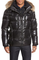Sam. 'Mountain' Quilted Down Coat With Removable Hood And Genuine Coyote Fur Trim Jet Black