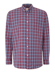 T.M.Lewin Poplin Graph Check Button Down Shirt Red