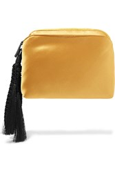 The Row Wristlet Tasseled Silk Satin Clutch Mustard