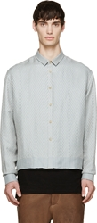 Haider Ackermann Blue And Grey Chevron Ash Shirt