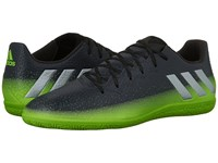 Adidas Messi 16.3 In Dark Grey Silver Metallic Solar Green Men's Soccer Shoes Black