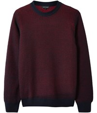 Austin Reed Waffle Knit Crew Neck Jumper Navy