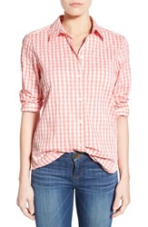 Women's Foxcroft Crinkled Gingham Shirt Coral