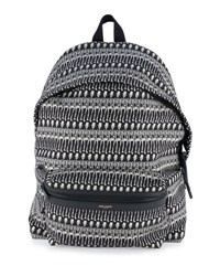 Saint Laurent Men's Skeleton Print Leather Backpack Black White
