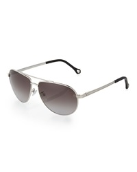 Ermenegildo Zegna Small Metal Aviator Sunglasses Smoke