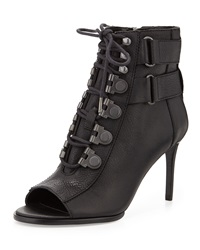 Luxury Rebel Cara Leather Open Toe Bootie Black