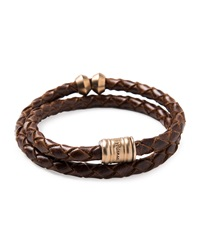 Miansai Woven Leather Bracelet With Brass Casing