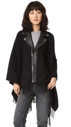 The Kooples Leather Collar Wool Poncho Black