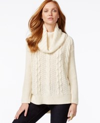 G.H. Bass And Co. Cowl Neck Cable Knit Sweater Ivory
