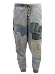 Greg Lauren Patchwork Drop Crotch Jeans Blue