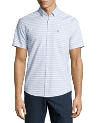 Penguin Horizontal Stripe Short Sleeve Sport Shirt Classic Blue